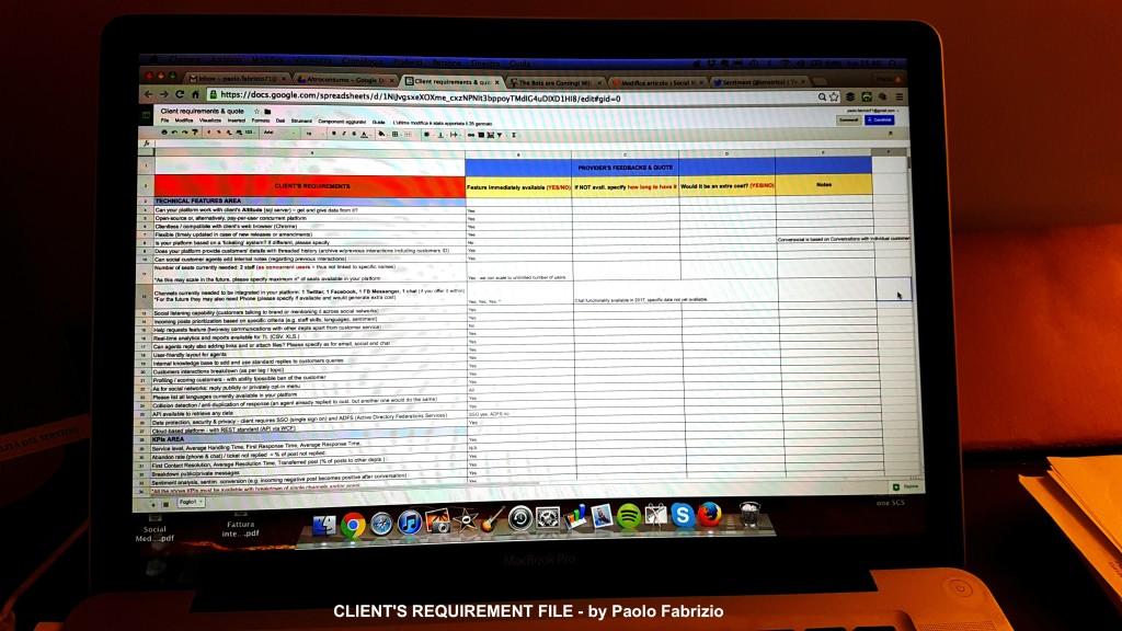 Client requirements file