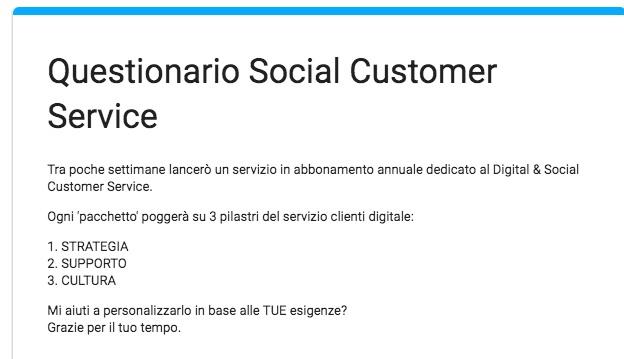 Questionario Social Customer Service